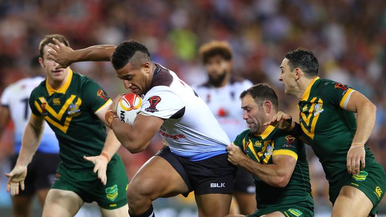 Viliame Kikau of Fiji is tackled during the 2017 Rugby League World Cup