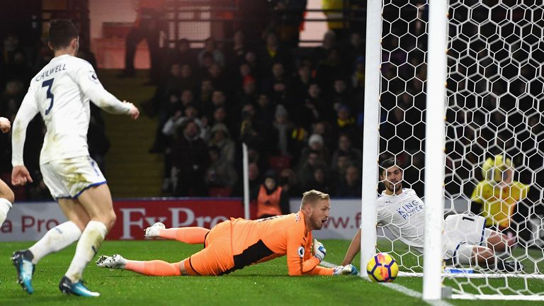 Kasper Schmeichel could not stop Abdoulaye Doucoure's effort creeping in