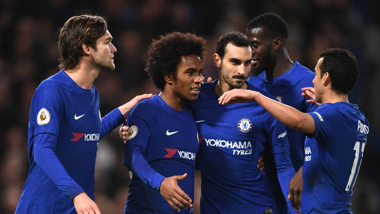 Willian (2nd L) produced a fine performance in Chelsea's win