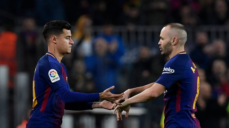 Coutinho replaced Andres Iniesta in the 69th minute