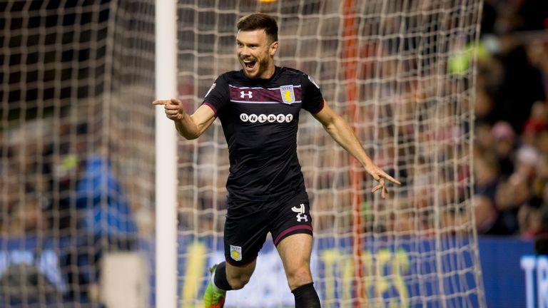 Scott Hogan celebrates after scoring the winner for Aston Villa at Nottingham Forest