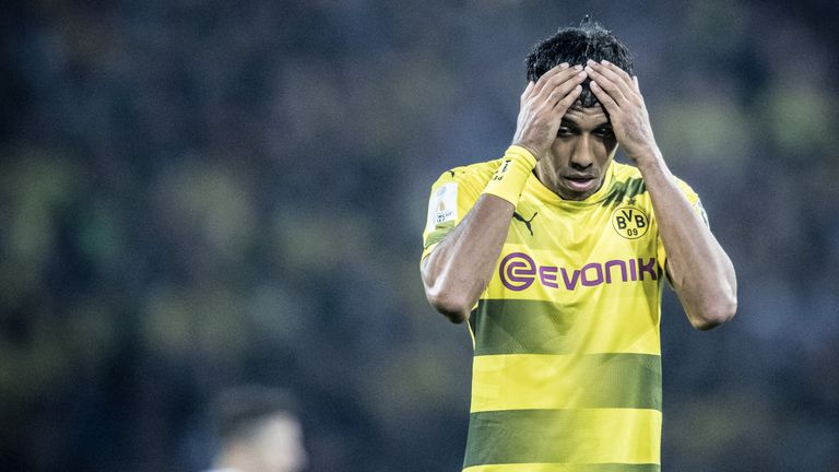 Pierre-Emerick Aubameyang of Dortmund will not be eligible to play for Arsenal in the Europa League