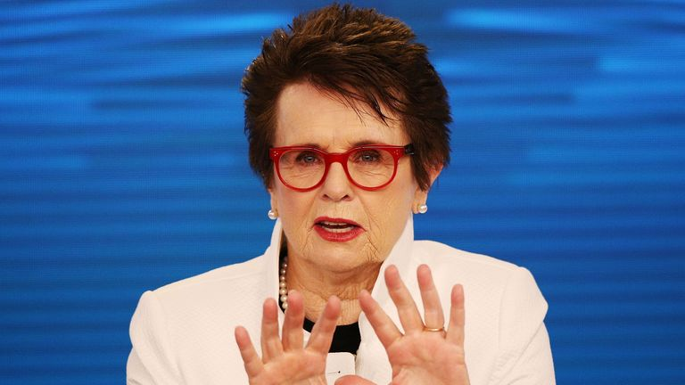 Billie Jean King talks to the media during a press conference in Melbourne this week