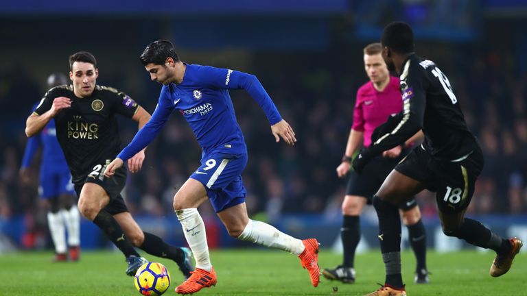 Alvaro Morata was unable to find a way through the Leicester defence