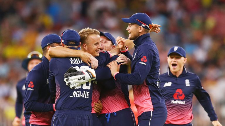 England celebrate after clinching victory in Perth and a 4-1 series win