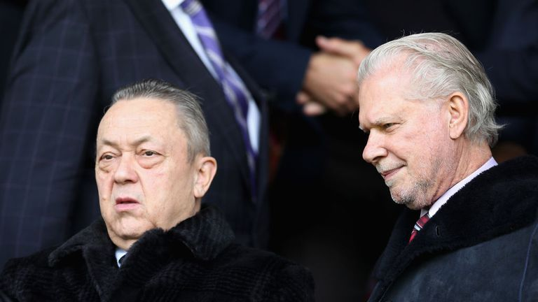 West Ham co-owners David Sullivan and David Gold were forced to leave their seats during the March loss to Burnley