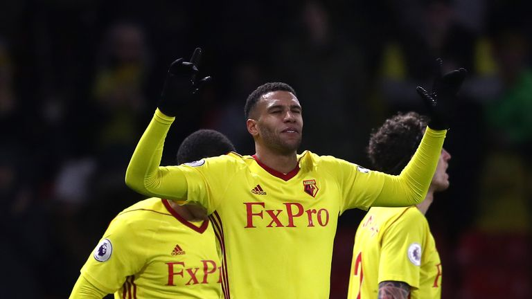 Etienne Capoue of Watford celebrates after scoring his side's third goal against Bristol City