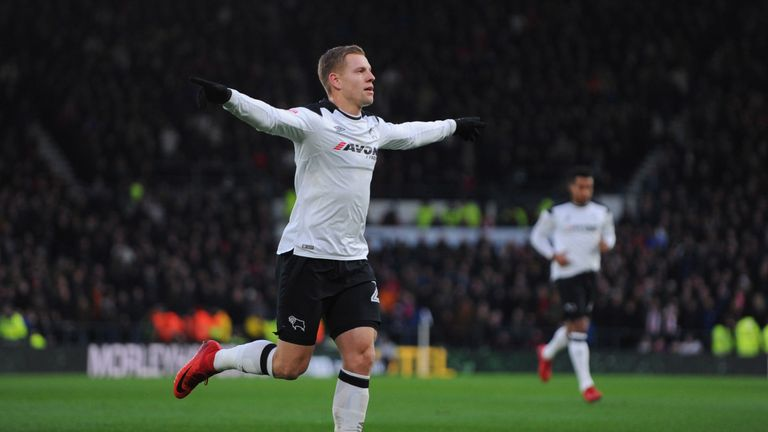 Matej Vydra celebrates after scoring a penalty during the Sky Bet Championship match between Derby County and Sheffield United