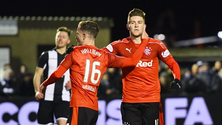 Rangers' Josh Windass (R) celebrates his goal with teammate Andy Halliday