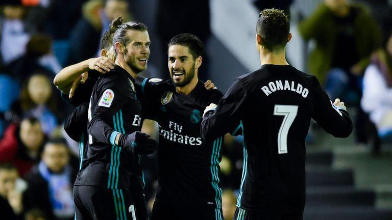 Gareth Bale celebrates putting Real Madrid 2-1 up against Celta Vigo