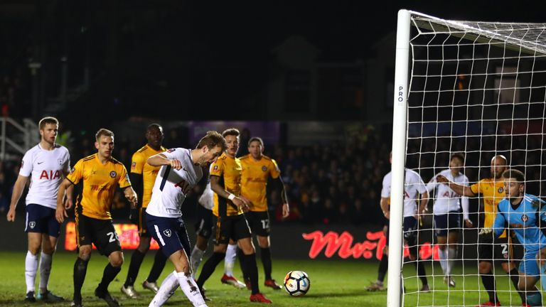 Harry Kane equalises for Tottenham against Newport