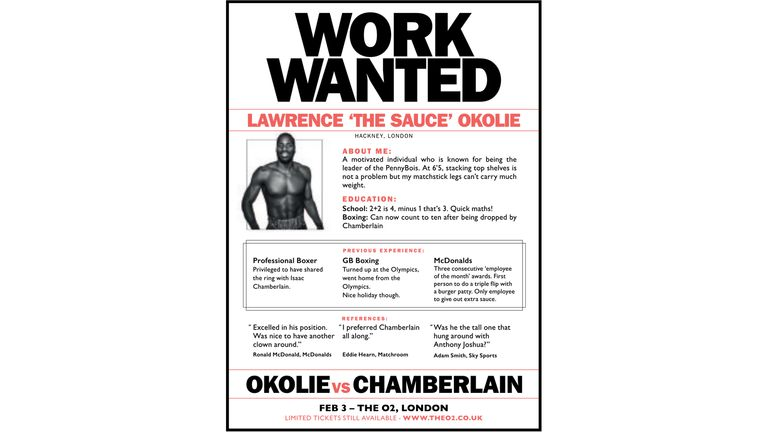 Isaac Chamberlain took out an advert in Lawrence Okolie's local newspaper