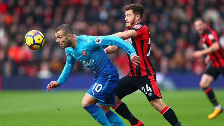Jack Wilshere of Arsenal and Ryan Fraser of Bournemouth battles for possession