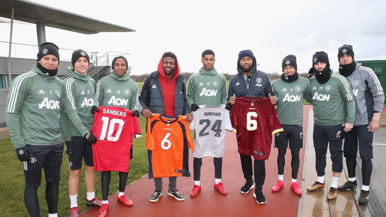The NFL stars stopped by to visit the first team at their Carrington base