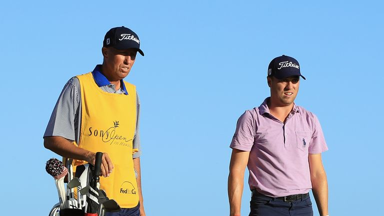 Justin Thomas had 'Bones' on his bag as he opened with a 67