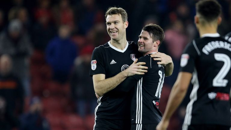 Kevin McDonald and Oliver Norwood celebrate the 1-0 win over Middlesbrough