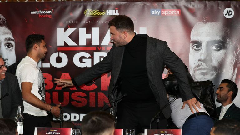 Eddie Hearn had to step in to separate the two fighters