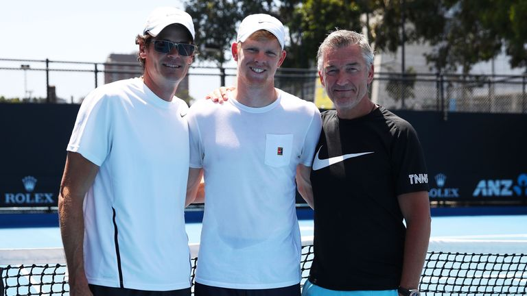 Edmund alongside physical performance coach Ian Prangley (L) and coach Fredrik Rosengren