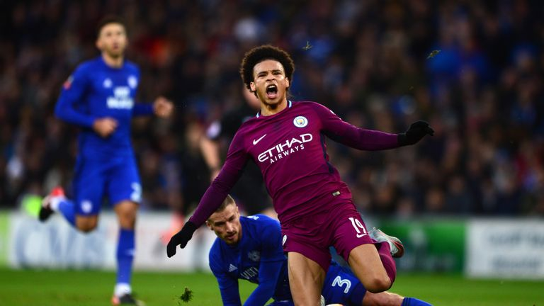 Guardiola was unhappy at the tackle by Cardiff's Joe Bennett on Leroy Sane