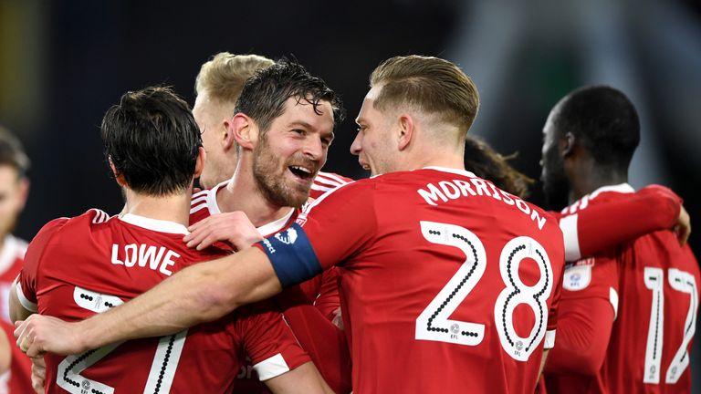 Lukas Jutkiewicz celebrates scoring Birmingham's equaliser at Huddersfield