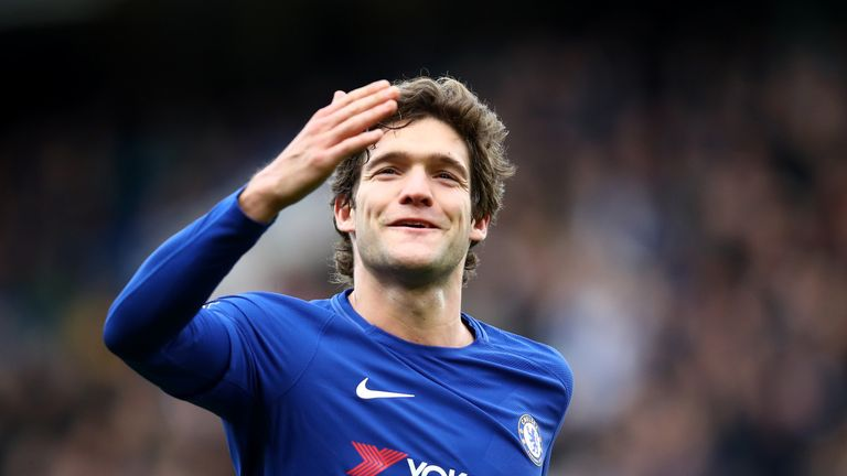 Marcos Alonso celebrates after putting Chelsea 3-0 to the good on Sunday