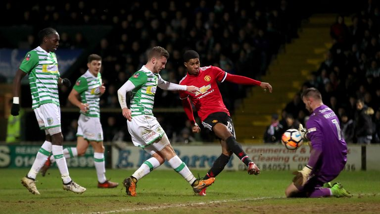 Rashford (second right) scores against Yeovil