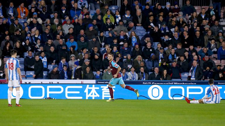 West Ham's Marko Arnautovic celebrates scoring his side's second goal against Huddersfield