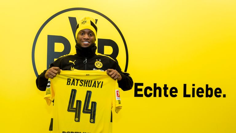 Michy Batshuayi after signing a contract to join Borussia Dortmund on loan from Chelsea