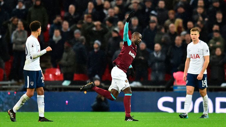 Pedro Obiang celebrates his spectacular strike