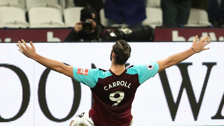 Andy Carroll celebrates after scoring a late winner at the London Stadium