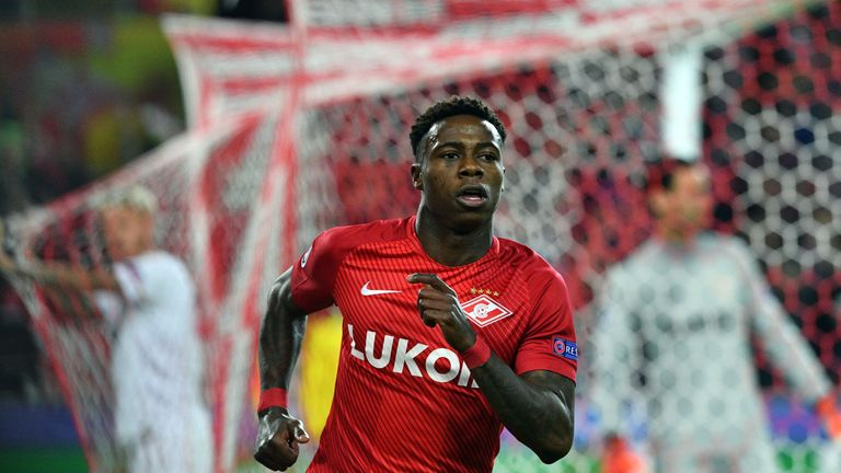 Quincy Promes scored two Champions League goals for Spartak this season
