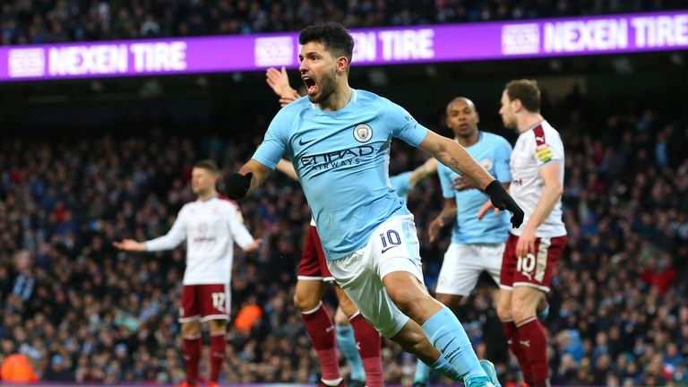 Sergio Aguero celebrates after equalising for Manchester City