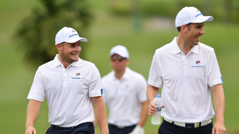 Tyrrell Hatton plays with Ross Fisher in the anchor match