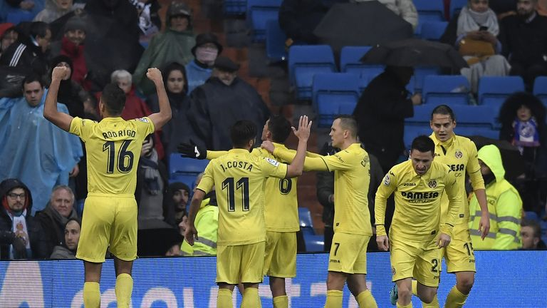 Villarreal's players celebrate after Pablo Fornals scores late in the game to beat Real Madrid 1-0