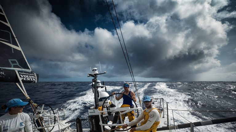 The crew completed the 5,600 nautical mile journey in 18 days and 1 hour