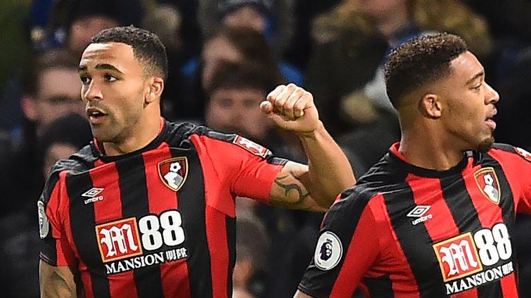 Callum Wilson celebrates putting Bournemouth ahead at Stamford Bridge