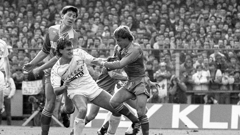Tottenham's Glenn Hoddle getting a taste of the Wimbledon treatment