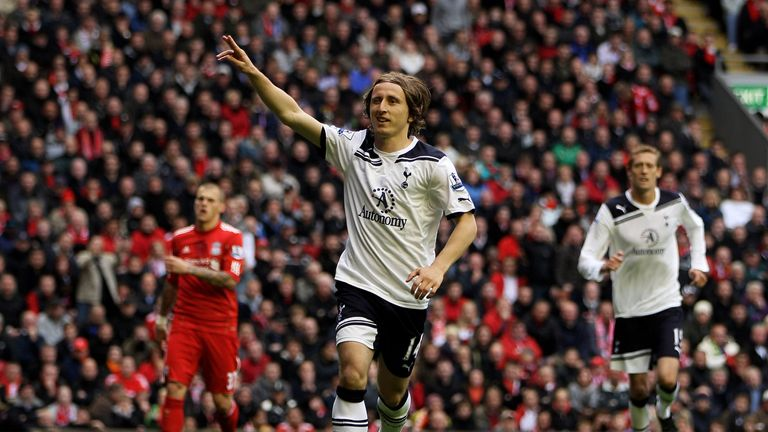 Luka Modric scored from the spot in Tottenham's last win at Anfield in 2011