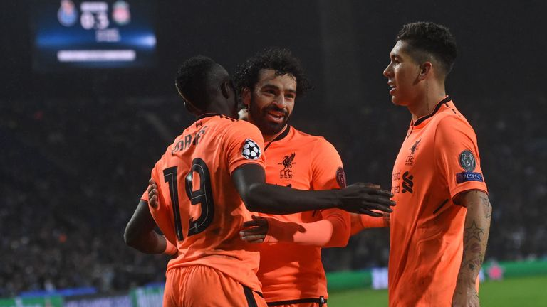 Sadio Mane (L),  Mohamed Salah (C) and Roberto Firmino (R) have been in excellent form for Liverpool