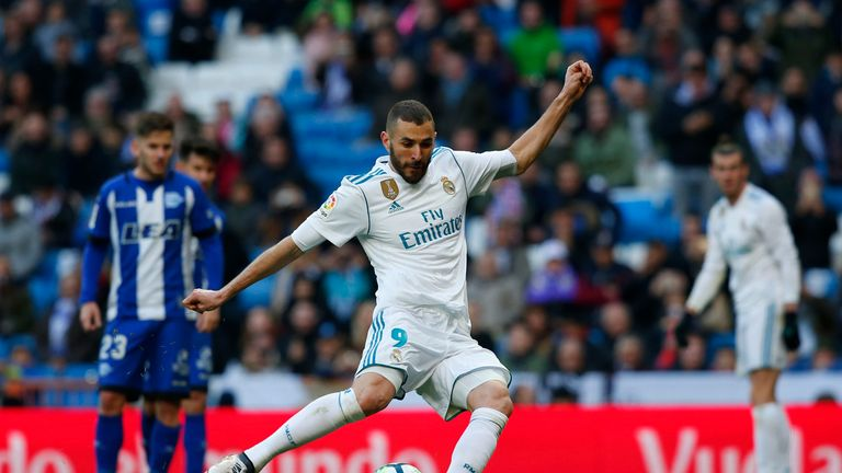 Karim Benzema slots in the fourth from the penalty spot
