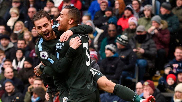 Bernardo Silva celebrates with Danilo after Manchester City go 1-0 up at Turf Moor