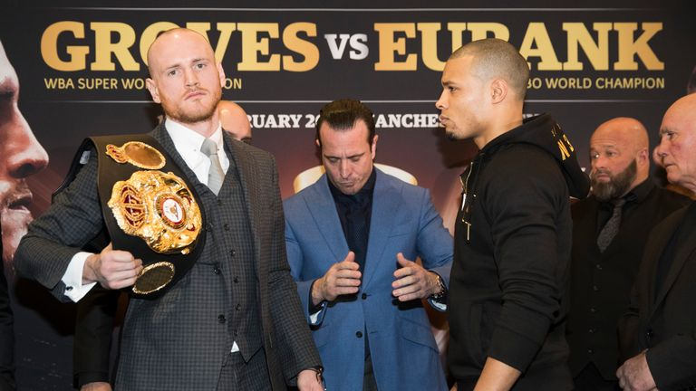 George Groves and Chris Eubank Jr face off after their press conference at Crowne Plaza Hotel in Manchester