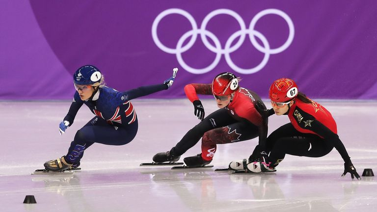 Elise Christie qualified as fourth fastest for the 500m final