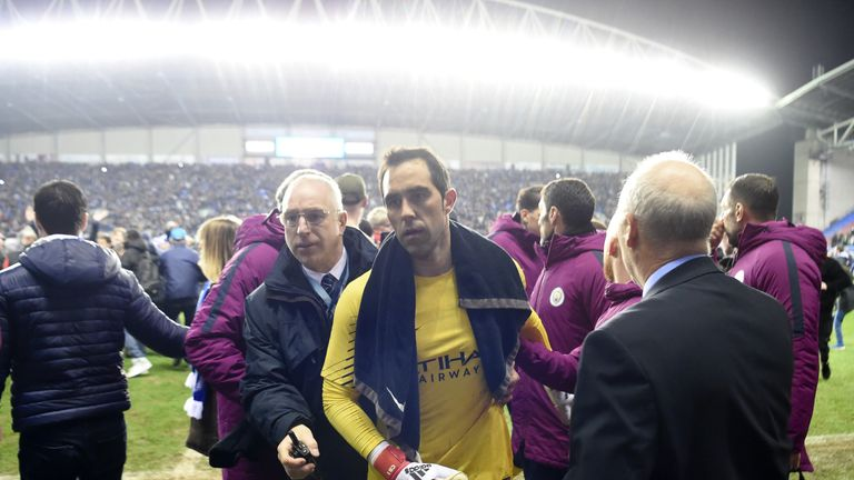 Claudio Bravo heads off the pitch after his City team lost in the FA Cup