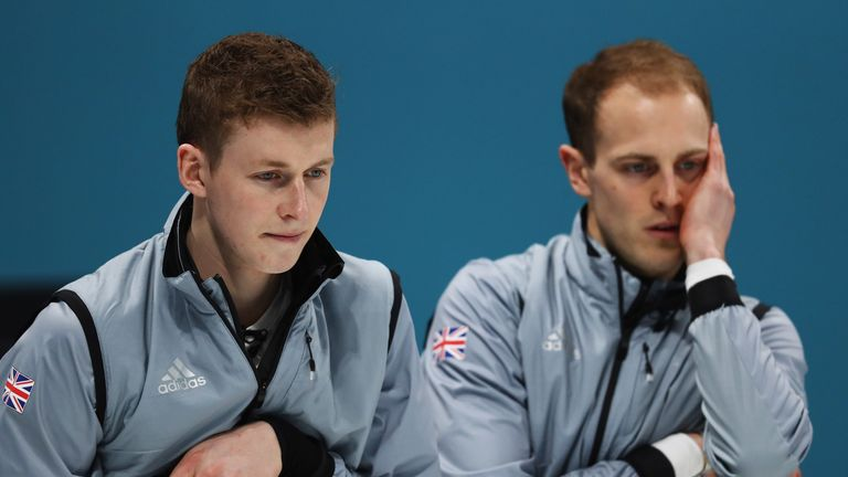 Thomas Muirhead and Kyle Smith of Great Britain look on during the play-off loss to Switzerland