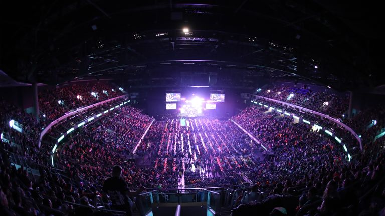 A PDC-record 12,000 crowd at the Mercedes-Benz Arena in Berlin enjoyed watching Van Gerwen in full flow