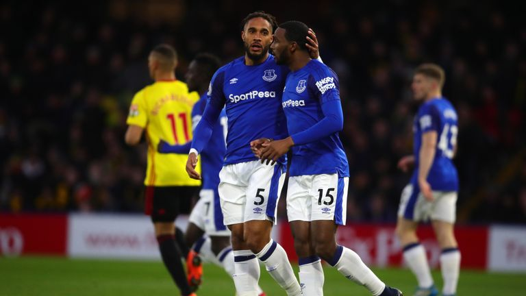 Ashley Williams and Cuco Martina of Everton speak during the match against Watford
