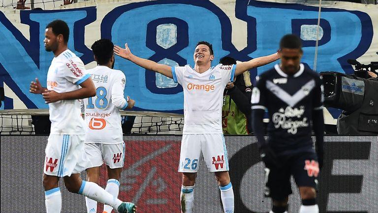 Florian Thauvin celebrates scoring Marseille's goal