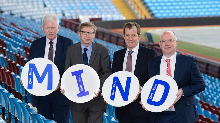 (From left to right) EFL Chairman Ian Lenagan, Mind Chief Executive Paul Farmer, Mind Ambassador Alastair Campbell and EFL Chief Executive Shaun Harvey