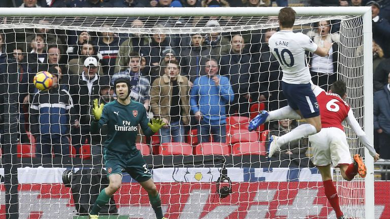 Kane scores the opening goal of the north London derby at Wembley Stadium